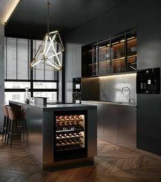 Dark Apartment in Moscow - Dezign Ark (Beta) - Modern Kitchen Modern Kitchen Interiors, Loft Interiors, Luxury Kitchen Design, Kitchen Room Design, Home Room Design, Home Decor Kitchen, Home Kitchens, Apartment Kitchen, Black Kitchens