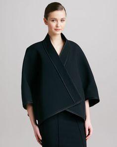 Donna Karan Three-Quarter-Sleeve Kimono Jacket, Black - Bergdorf Goodman Love the jacket might need but prefer it longer to below knee