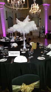 EXQUISITE EVENTS AND CHAIR COVER HIRE: White Ostrich Feathers Centrepice from Just £10 wi...