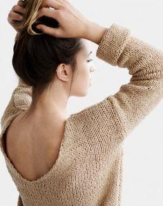 Jersey de punto. Suéter con cuello en V tejido a mano en DaWanda.es