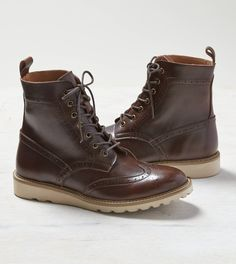 Dark Brown AEO Leather Wingtip Boot - 89.95