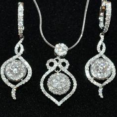 Diamond Earrings & Pendant Set Vintage Designer 14K White Gold 2.64ct Chandelier Pendant-Necklaces-MidwestJewellery http://www.amazon.com/dp/B00A9I7M22/ref=cm_sw_r_pi_dp_8BYlub01RHMYT