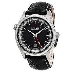 638-389 - Hamilton 42mm Jazzmaster Swiss Made Automatic Black Leather Strap Watch
