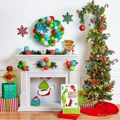 The Grinch is here to steal Christmas! This Glitter Grinch Santa Cutout is a fun addition to your mantle decorations. Whoville Christmas Decorations, Grinch Christmas Decorations, Christmas Themes, Christmas Holidays, Canada Christmas, Whimsical Christmas, Grinch Party, Grinch Trees, Grinch Village