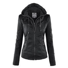 Leather Jacket With Hood, Faux Leather Jackets, Leather Coats, Lambskin Leather, Soft Leather, Pu Jacket, Hooded Jacket, Hooded Leather Jacket, Hooded Coats