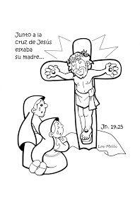 El Rincón de las Melli: DIBUJO: María y Juan junto a la cruz de Jesús (para los más chiquitos)