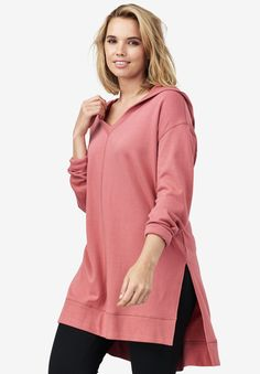 f43a304e3 Hooded Tunic with High-Low Hem, STRAWBERRY ROSE, hi-res Plaid Flannel