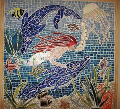 handmade stained glass mermaid and dolphin under water mosaic mural     that looks  great! Have a look at this great Mosaic sit