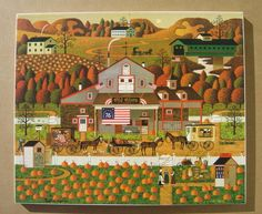 Charles Wysocki Stretched Canvas (Not Print) Old Glory Farms # 10/150 PUMPKINS!