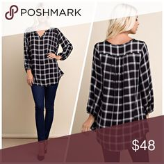 Plaid meets sophistication tunic! Plaid, open v-neck, long sleeve top with shirred back detailing. Made with a lightweight woven, plaid fabrication that is comfortable and stylish to wear. Tops Tunics