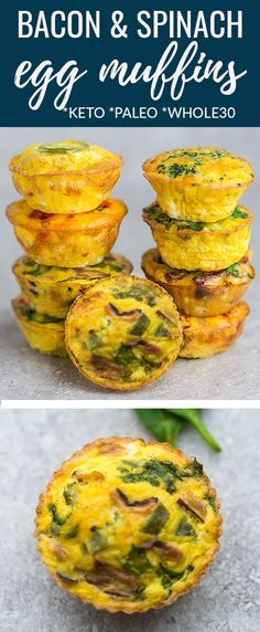 Spinach Egg Muffins with cheese are quick, simple and make a perfect grab and go breakfast for busy mornings. Best of all, low carb, keto & freezer friendly. Grab And Go Breakfast, Breakfast Muffins, Best Breakfast, Egg Cupcakes Breakfast, Breakfast Gravy, Breakfast Hash, Breakfast Egg Muffins, Healthy Egg Breakfast, Breakfast Biscuits