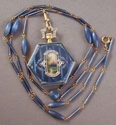 Edwardian Bailey Banks & Biddle 14k Gold Guilloche & Diamond Watch Pendant & Chain