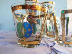 Georges Briard Glassware - Forbidden Fruit Glasses Blue Gold - yes, please.