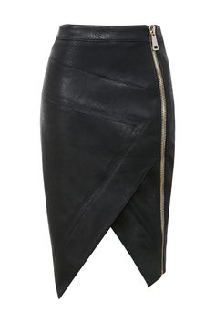 Clothing : Skirts : 'Floria' Black Vegan Leather Assymetric Skirt