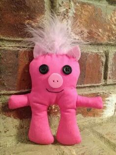 Pink pig by Lindy Tate @Ugg Lee Dolls on facebook and Ugg Lee Factory on Etsy.