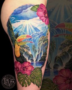 a2030501d Beautiful tropical Toucan tattoo with waterfall and hibiscus flowers by Liz  Venom of Bombshell Tattoo Galerie