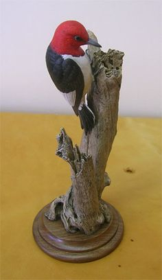 Red-headed Woodpecker Miniature Carved by Bob Guge
