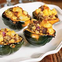 Acorn Squash with Sausage, Onion, and Corn Bread Stuffing