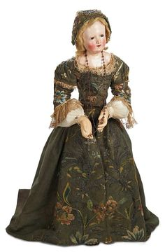 """Very Rare Early and Large Sculpted Woman in Original Silk Costume 30"""" (76 cm.) Shoulder head of carved wood"""