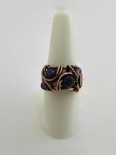 Amethyst Bead Ring Wrapped in Copper