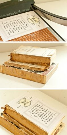 create these haunted (vintage) books for a halloween display! easy!