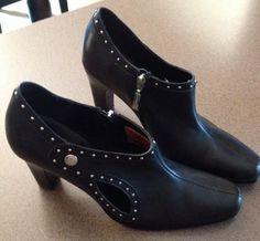 WOMEN'S HARLEY-DAVIDSON BLACK LEATHER Silver Studded  MULES/Shoes Heels Sz 8 #HarleyDavidson #Mules #Casual