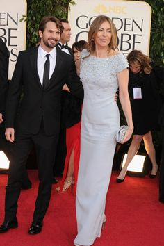 Kathryn Bigelow wears a cool blue with aplomb by Prada.