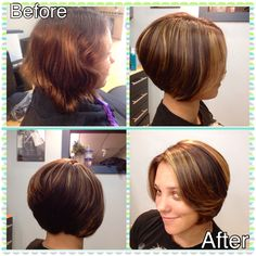 Angled Bob with Mocha base and caramel highlights