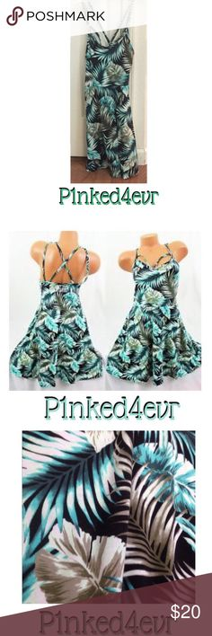 VS PINK Palm Print Strappy Skater Dress VS PINK Palm Print Strappy Skater Dress size XS. In like new condition no flaws whatsoever. Super cute tropical Palm print and criss cross straps in the back and a strap design in the front. (See 2nd photo, which btw I got from Google to show how it looks on). Perfect with flip flops and a white cardigan or cropped jean jacket for a summer date! Would also fit a small PINK Victoria's Secret Dresses
