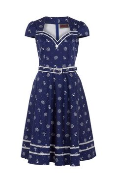 The 'Joni' dress from Voodoo Vixen comes with a matching belt with white trim to compliment the anchor & ships wheel print! Available online now -->  http://www.claireabellascloset.co.uk/component/hikashop/product/1390-voodoo-vixen-joni-nautical-dress?Itemid=126