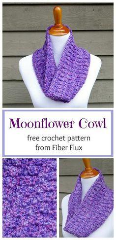 Moonflower Cowl, free crochet pattern + full video tutorial on Fiber Flux
