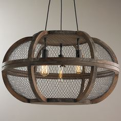 Rustic Wooden Cage Chandelier natural