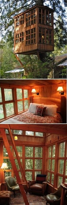 Trillium suite at TreeHouse Point Hotel in Snoqualmie, near Seattle, USA