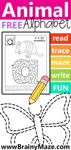 Animal Alphabet Maze and Trace worksheets. This free set includes lowercase… Learning Letters, Alphabet Activities, Preschool Learning, Mazes For Kids Printable, Preschool Printables, Alphabet Board, Animal Alphabet, Letter Maze, Maze Worksheet