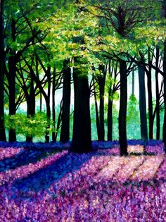 Bluebell woods, acrylic on canvas, landscape, forest art Animal Print Outfits, Forest Art, Animal Activities, Wood Tree, Animal Totems, Picture Captions, Woodland Animals, Wood Print, Landscape Paintings