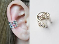 """Shop put  favorites, we often have discounts and promotions! Pls, keep an eye on the store - https://www.etsy.com/ru/shop/EarringsEarcuffs      I make a gift with every order :)      Ear Cuff """"Precious mosaic"""" - a new incarnation of sophistication.  To try on the image of a true luxury lady does not have to be the owner of the branded items, which cost several hundreds of thousands. All at times easier and more enjoyable. The refined and stylish jewelry ear cuff silver, can become a true…"""
