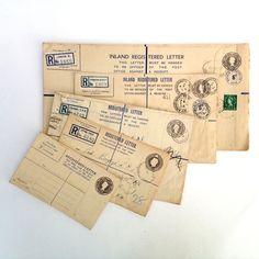 A collection of five vintage registered letter envelopes from Vintage Curiosity Shop
