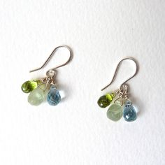 Sterling silver cluster earrings with peridot, prehnite and topaz