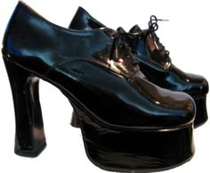 Vintage 1980's English Patent Leather Platform Shoes by Atomicfireball