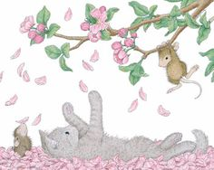 """Mouse shaking down cherry blossoms on a kitten  """"Mudpie and Muzzy"""" from House-Mouse Designs®"""