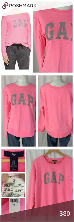 """NWT - GAP Pink Crewneck Sweatshirt Great way to add color to your loungewear! Bright pink sweatshirt with silver sparkly front logo. Crew neck and long sleeves. Excellent unworn condition. Size XL, 24"""" chest, 26"""" length. GAP Tops Sweatshirts & Hoodies"""