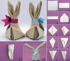 Look at the photo of schnikerike with the title napkin rabbit with bow: h ร . Check out the photo of schnikerike titled Napkin Bunny with a Bow: Pretty Easter Table Decoration a Bunny Napkin Fold, Christmas Napkin Folding, Easter Table Decorations, Easter Table Settings, Easter Celebration, Easter Party, Easter Crafts, Holidays And Events, Diy And Crafts