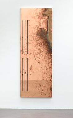 Walead Beshty, Directors 3 (2014) polished copper table top and powder-coated steel 33.625 x 94.875 x 1.5 inches (as seen at Petzel Gallery on Sept. 6, 2014)