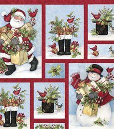 Holiday Inspirations Fabric- Susan Winget Gathering The Gifts Santa