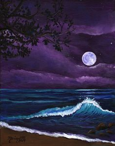 Beach... Ocean... Sea •~• Romantic Kauai Moonlight Original Acrylic Painting by kauaiartist, $250.00