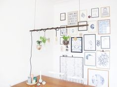 Transform a broomstick to a beautiful suspension of lamps and plants