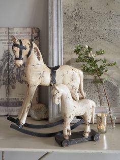 Vintage White Wooden Horses