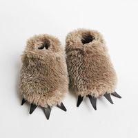 Baby Bear Slippers Fuzzy Mocha with Dark Claws by babycricket. $35