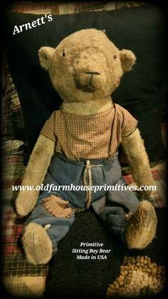 """Arnett's Primitive Sitting """"Ted E. Bear"""" (Made In USA)"""