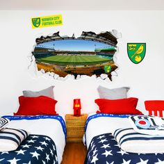 Shop Norwich City FC Football Gifts, Wall Stickers, Murals & Art in our online store. NCFC Bedroom Decor, better than posters or wallpaper. Norwich City Football, Norwich City Fc, Mural Wall, Wall Art, Carrow Road, City Bedroom, Football Bedroom, Bedroom Furniture, Bedroom Decor